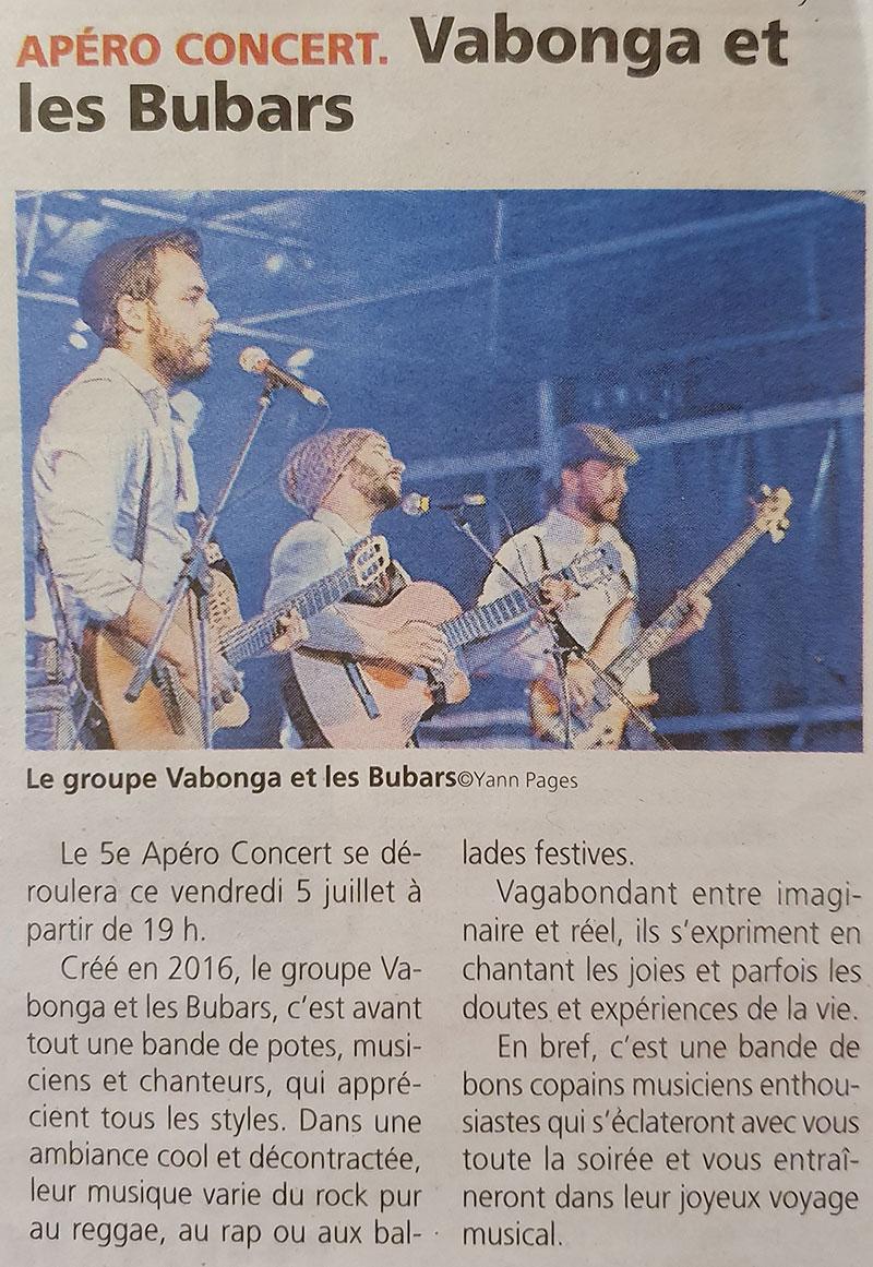 Presse - juillet 2019 - Vabonga & Les Bubars